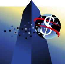 Signe dollar sur le globe devant un gratte-ciel