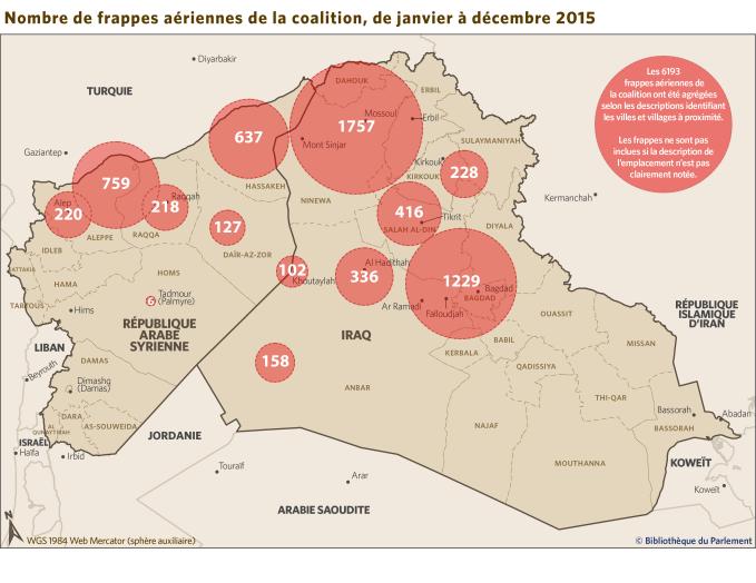 Carte de la région du Moyen-Orient montrant les frappes aériennes de la coalition, de janvier à décembre 2015