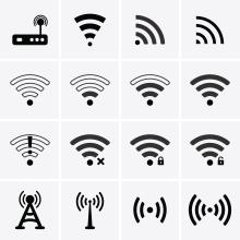 Icônes symbolisant un accès internet, avec ou sans fil.
