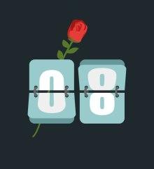 Rose et un calendrier indiquant le 8e jour du mois, symbolisant la Journée internationale de la femme. Illustration: Thinkstock