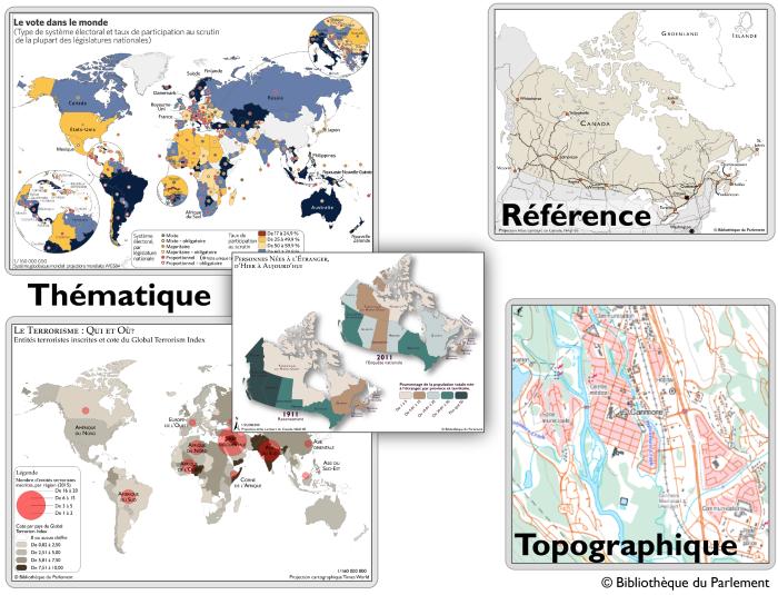 La Figure 3 montre cinq différents types de cartes. Il y a trois cartes thématiques : la première montre le taux de participation à des scrutins dans le monde; la deuxième illustre l'indice de terrorisme; et une troisième fait une comparaison entre l'immigration au Canada en 1991 et en 2011. Il y a une carte de référence du Canada, qui montre les principales routes et principaux chemins de fer, de même que les capitales des provinces. La carte topographique montre l'élévation, les routes, les chemins de fer, les plans d'eau et les principaux attraits.